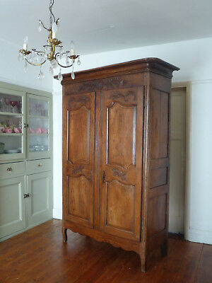 19th Century Antique Normandie French Armoire Linen Cupboard