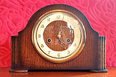 Vintage British 'Smiths Enfield' 8-Day Striking Mantel Clock