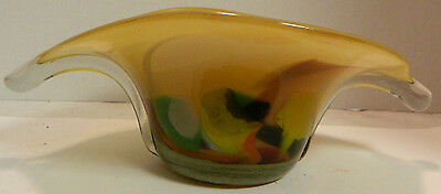Vintage Hand Blown Art Glass Console Bowl Tan, Red, Green, Orng Murano Excellent