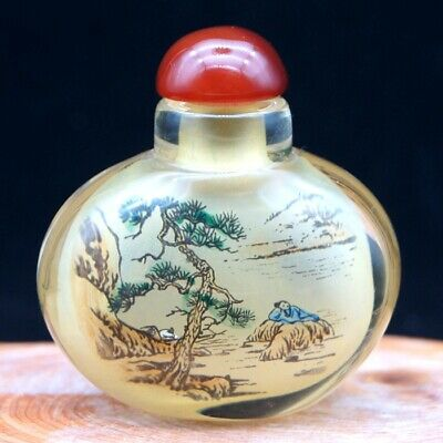 Chinese Handmade Inside painted ancient life and landscape snuff bottle