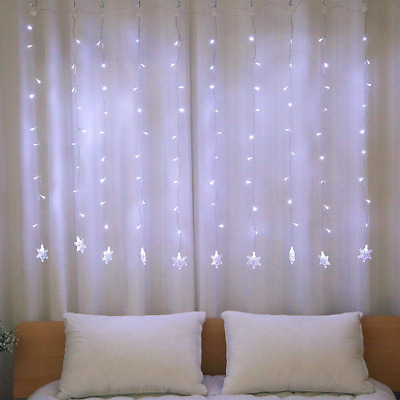100 LED Snowflake Window Curtain String Light for Wedding Party Home Bedroom NEW