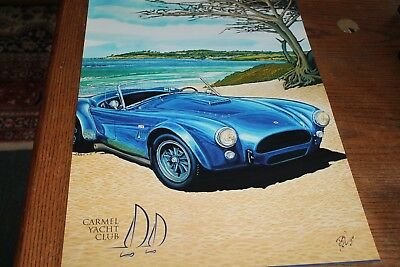 Shelby Cobra on Carmel Beach, large poster by famed artist Roy E Dryer III