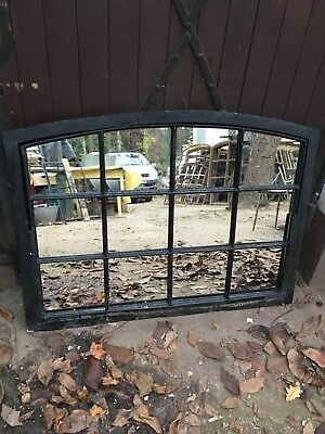 Vintage Cast Iron Arched Industrial Metal Mirror Window 12 Pane over mantle