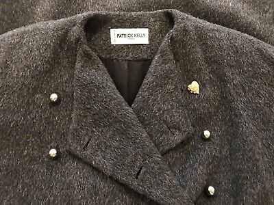 Patrick Kelly Vintage Grey Wool Double Breasted Coat Size M/L