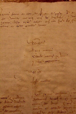 1520 Large manuscript handwritten medieval lord letter oncial writing RARE