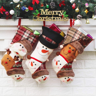 """Set of 3 Christmas Stockings Decorations 18"""" Xmas Fireplace Hanging Home NEW US"""