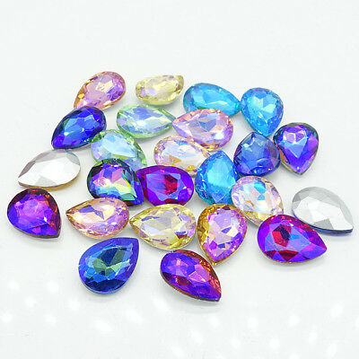 Mix AB Faceted Crystal Glass rhinestones Silver Teardrop beads 14/18/25/30mm