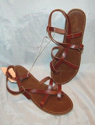 f5cc0457a0e New Women s Brown Universal Threads Lavinia Toe Wrap Thong Sandals Size 11