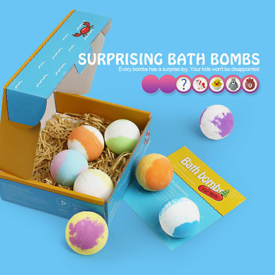 Bath Bombs for Kids with Surprise Inside 8 Packs, Natural Fizzers Toys NEW USA