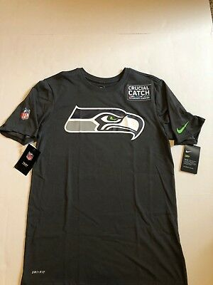 Seattle Seahawks NFL Nike Crucial Catch Tee Shirt Med Anthracite NWT Patch NWT