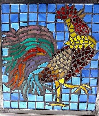 "ORIGINAL ARTWORK ""Key West Strutting Rooster"" by S. Cates, Stained Glass Mosaic"