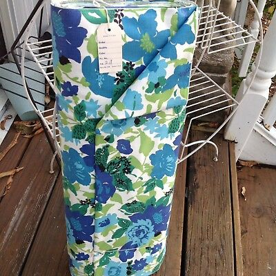Vintage 50s 60s Blue Green Floral Raleigh Cotton Dure Allure Everglaze Fabric