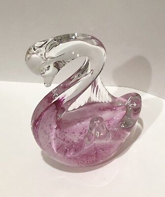 Vintage Paperweight Art Glass Swan Clear Blown Glass Murano Italy