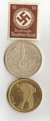 """-*WW2 - *german   SILVER   coin / stamp  +  *""""Cleopatra""""  coin"""