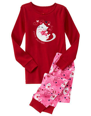 NWT Gymboree You're Purrrfect Cat Valentine's Day Heart Gymmies Pajamas Girls