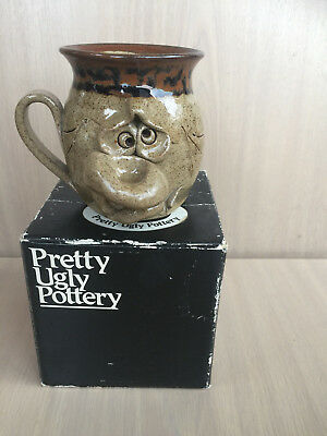 UGLY MUG Pottery GLAZED grotesque pretty ugly pottery BOXED rare Vintage clay