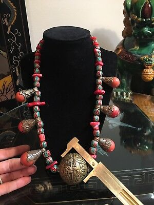 """Antique Red Coral Copper Cloisonné Turquoise Inlay Tibet Nepal Bead Necklace 21"""""""