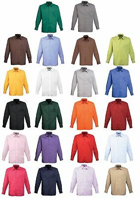 Premier Mens Poly Cotton Poplin Long Sleeve Plain Work Wear Smart Office Shirt