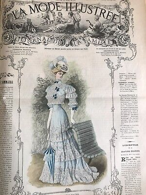French MODE ILLUSTREE SEWING PATTERN Sept 16 & 23,1906 BALL GOWN ,PURSE