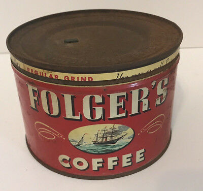 Vintage Folger's Coffee1 lb Can Tin Regular Grind Year 1946