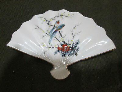 Vintage China Fan , Fine China From Japan , used , Decorated with Birds
