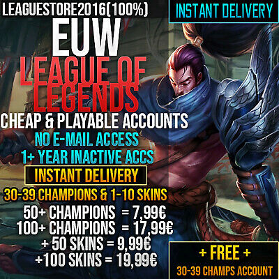 League of Legends Account LOL Euw Unranked Lvl 30 All Champs Skins Gold Smurf