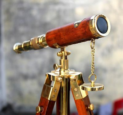 Nautical Antique Brass Leather Telescope With Stand Wooden Tripod Vintage Gift