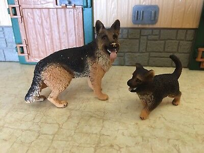 Schleich lot of 2 Dogs German Shepards Adult and Puppy Retired Farm Life