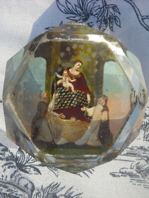 Glass Paperweight Antique French Virgin Mary on Reverse Mid 1800's Authentic