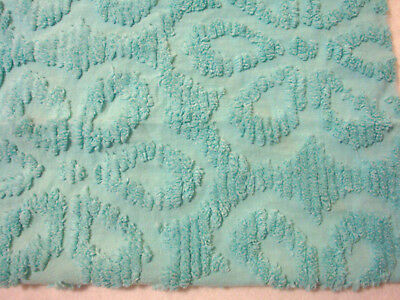 Fabric Piece#1620 - Large Turquoise Daisy Vtg Chenille Bedspread
