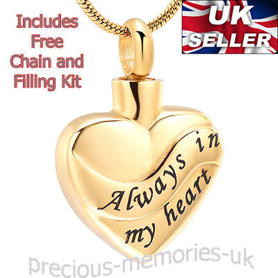 Gold Cremation Ashes Necklace - Funeral Memorial Jewellery Keepsake Urn Pendant