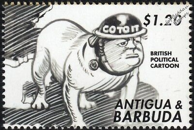WWII Winston Churchill Bulldog Go to It Cartoon Stamp Battle of Britain/Antigua