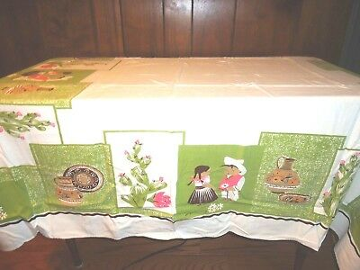"""CALAPRINT VINTAGE TABLECLOTH W/ TAG MEXICAN SOUTHWEST PATTERN CACTUS 52"""" x 45"""""""
