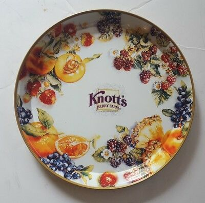 """Vintage Knott's Berry Farms Tin Serving Tray 12"""" Fruit Berries"""