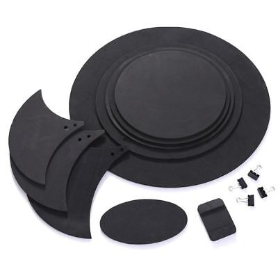 10pcs Bass Snare Drum Sound Off Mute Silencer Drumming Rubber Practice Pad Set #