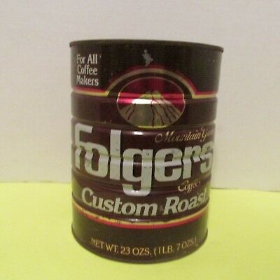 VINTAGE FOLGER'S COFFEE TIN CAN 1991 brown