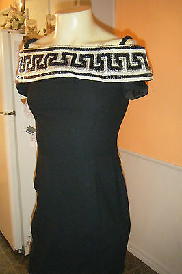 Vintage A.J. BARI Black & White SEQUINED Sexy Evening Cocktail Mini Dress sz 10
