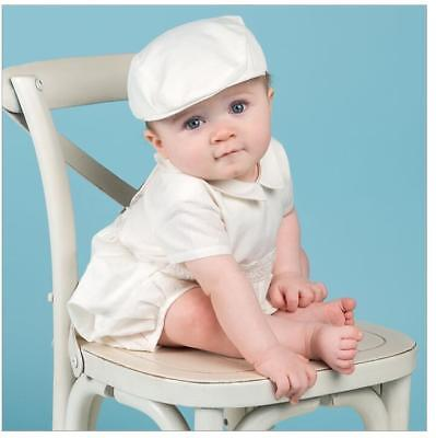 Baby Boy Baptism Christening Two Piece Rompert Ivory NEW Wedding, with cap