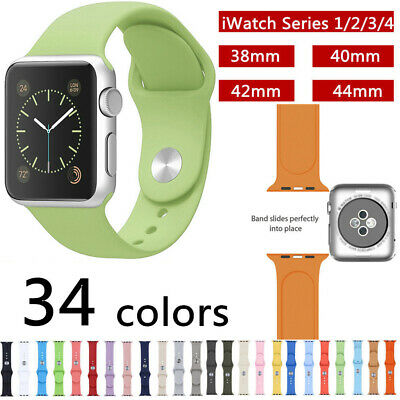 For Apple Watch 38/42/40/44mm Silicone Sports Band Strap Series iWatch 1 2 3 4