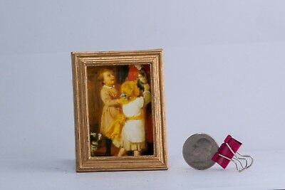 Oil Painting Gold Frame Doll house Furniture Miniature Dollhouse Antique Vintage