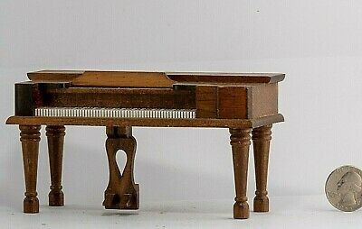 Wooden Piano Doll house Furniture Vintage Miniature Dollhouse Living old model