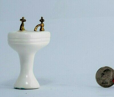 Porcelain sink bathroom Doll house Furniture Vintage Miniature Dollhouse Living