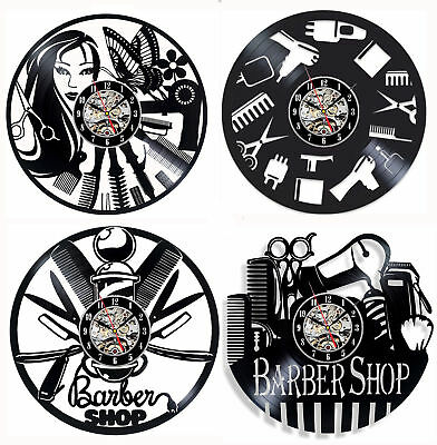 Barber Shop Wall Clock Hair Salon Vinyl Record Wall Watch Home Decor 12 inch