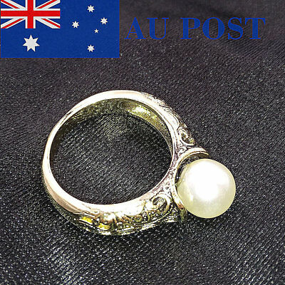 Gold Plated Pearl Ring Vintage Fantasy Zirconia Commitment Anniversary Jewelry