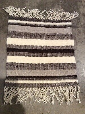 New Mexican Wool Undyed Striped Rug Mat Chimayo? Weaving Textile