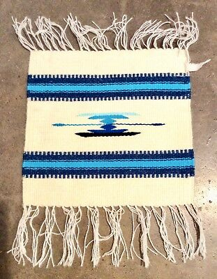 Small Mexican Rug Mat Mexico Weaving Textile White & Blue Wool  Chimayo Style