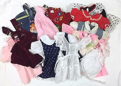 VTG Lot Children's Clothes Baby Girl Toddler Dresses, Overalls, Pinafore SZ 0-4T