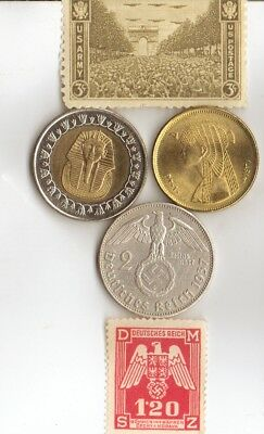 """*egyp. *king """"Tut"""" and """"CLEO"""" + *WW2 - *german  SILVER  EAGLE coins/stamps"""