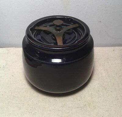 Dunhill England Antique Navy Blue Ceramic Glazed Tobacco Humidor