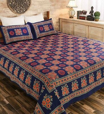 King Size Cotton Hand Printed Bed Sheet Bed Cover Bedspread With 2 Pillow Cover
